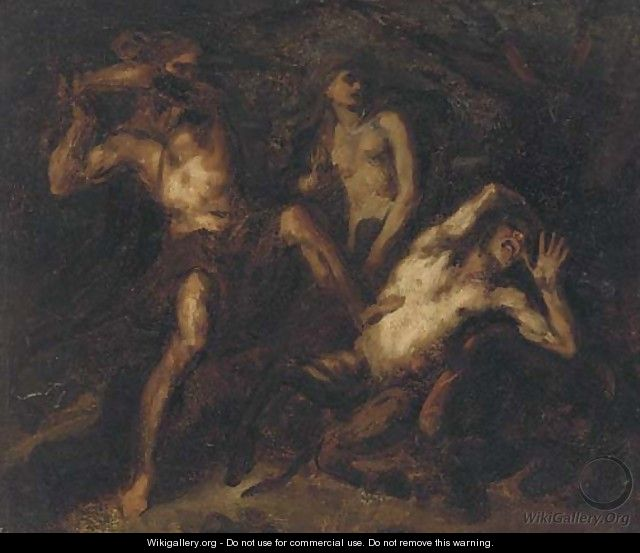 Two satyrs in combat - (after) Luca Giordano