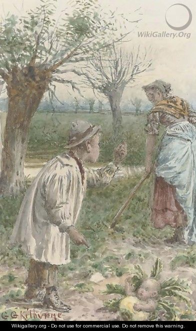 Tending the cabbage patch - George Goodwin Kilburne