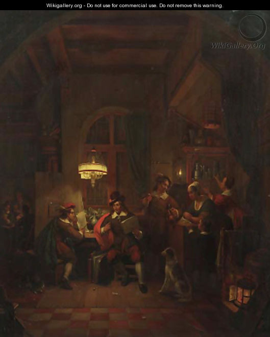 An artist showing designs to a client in a candle-lit tavern - Georg-Gillis Haanen