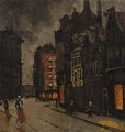 Paleisstraat te Amsterdam Figures on a street at dusk - George Hendrik Breitner