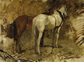 Paardstudie I working horses at rest - a study - George Hendrik Breitner