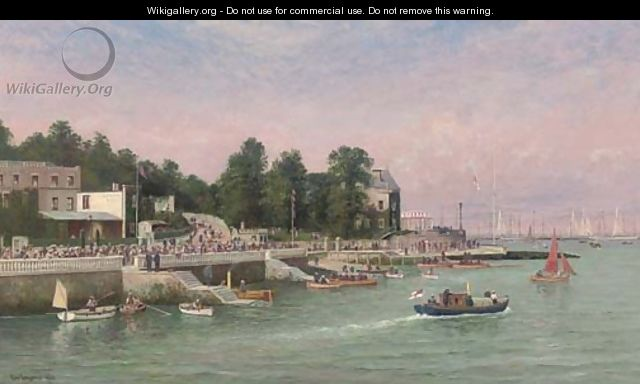Big-class yachts racing at the regatta at Cowes, elegant figures on the esplanade - George Gregory