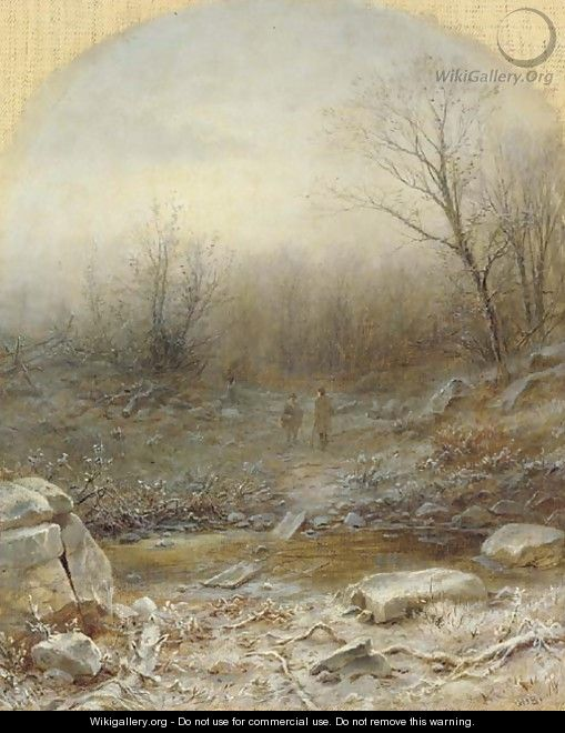 Figures in a Winter Landscape - George Henry Boughton