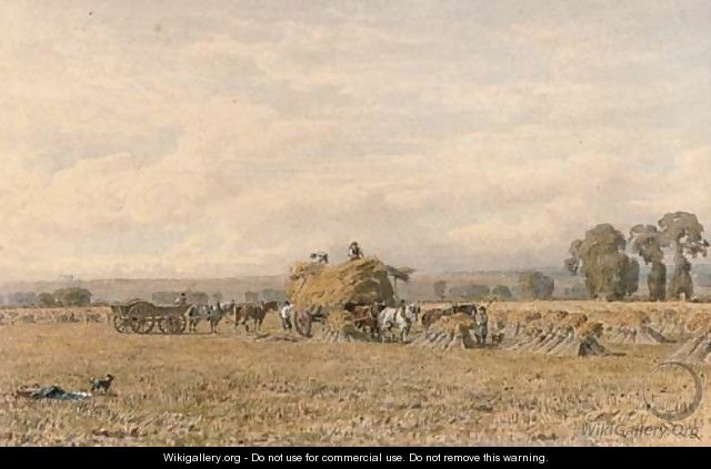 Harvesters loading the haycart - George Arthur Fripp