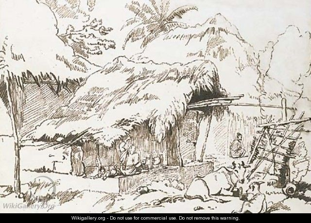 Indian figures and cattle outside a hut - George Chinnery