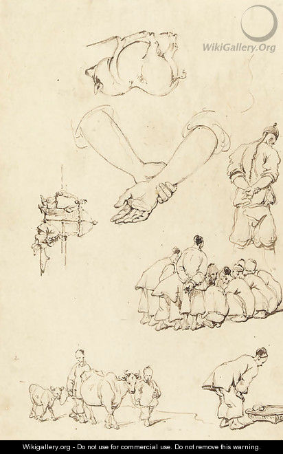 Studies of Chinese Figures with cattle - George Chinnery