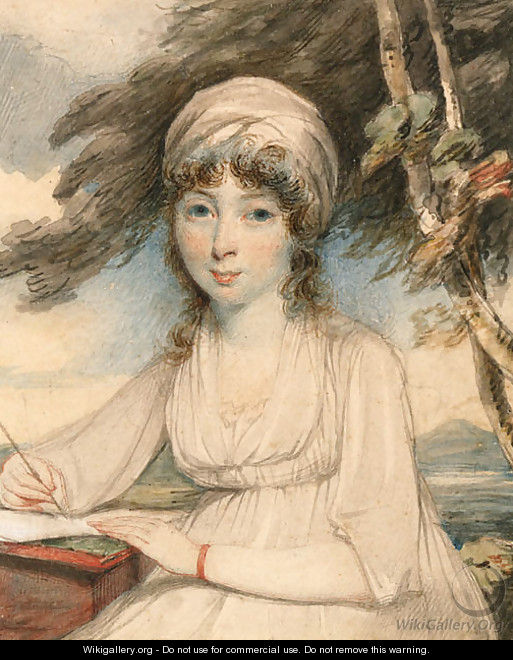 Portrait of a young lady, three-quarter-length in a white turban, wearing a white dress holding a pen in her right hand, seated in a wooded landscape - George Chinnery