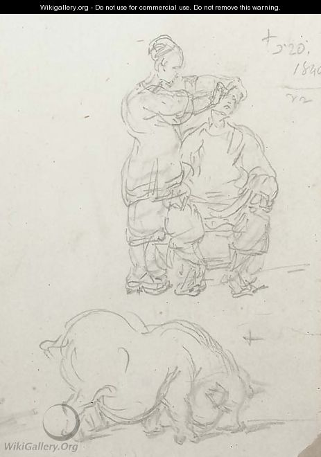 A Chinese barber at work and a study of a pig - George Chinnery