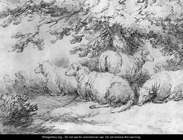 Sheep resting beneath trees - George Morland