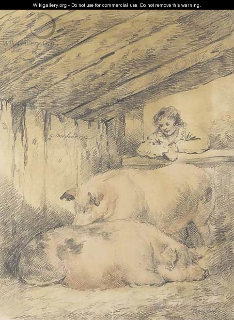 Pigs in a sty - George Morland