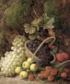 Strawberries, apples, plums, and grapes in a wicker basket, on a mossy bank - George Clare