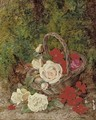 Roses and geraniums in a wicker basket before a mossy bank - George Clare