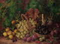 Red and white grapes, plums, raspberries, quinces and greengages on a mossy bank - George Clare
