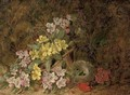 Hawthorn blossom, primroses and a bird's nest on a mossy bank - George Clare
