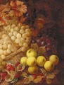 Apples, grapes, raspberries, and a wicker basket, on a mossy bank - George Clare