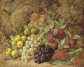 Apples, grapes, plums and strawberries on a mossy bank - George Clare