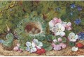 Apple blossom, berries and a bird's nest with eggs on a mossy bank - George Clare