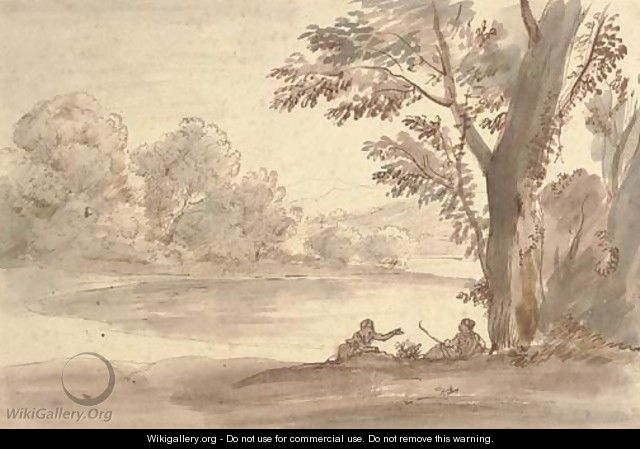 A lake on the edge of a wood with two figures by a tree - Caspar Andriaans Van Wittel