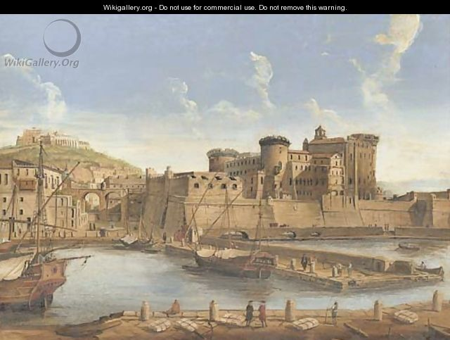La Darsena delle galere View of Naples from the harbour, with a view of the Castel Nuovo and Capodimonte beyond - Caspar Andriaans Van Wittel