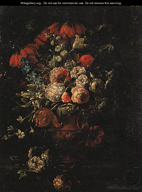 Roses, tulips, hyacinths and other flowers in a terracotta vase on a ledge - Gaspar Peeter The Elder Verbruggen