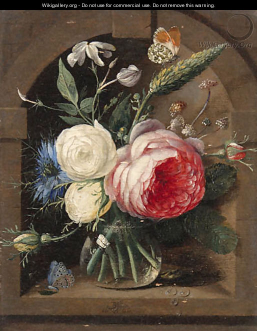 Roses, a cornflower and wildflowers in a vase with two butterflies in a niche - Gaspar Peeter The Elder Verbruggen
