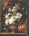 Peonies, roses, chrysanthemums, narcissi, morning glory and other flowers in an urn on a stone ledge - Gaspar Peeter The Elder Verbruggen