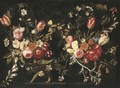 A garland of roses, tulips, cornflowers, foxgloves and other flowers against a stone cartouche - Gaspar Peeter The Elder Verbruggen