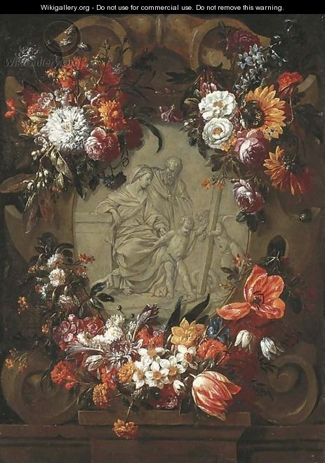 A garland of tulips, daffodils, carnations, sunflowers and other flowers around a stone cartouche with the Holy Family and the Infant Saint John - Gaspar Peeter The Elder Verbruggen