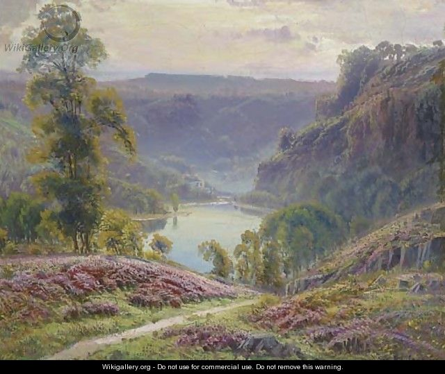 The view down to the lake at dusk - Gaston Anglade