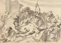 Satyrs and warriors threatening a bound captive - Gaspare Diziani