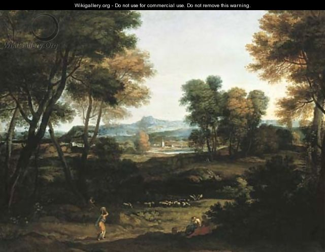 An Italianate landscape with washerwomen and a shepherd and a church spire beyond - Gaspard Dughet Poussin