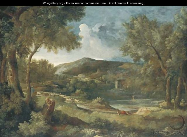 An Italianate river landscape with a shepherd and his flock - Gaspard Dughet Poussin