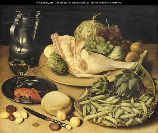 Artichokes and peas in the pod in a basket, a joint of pork, grapes, onions and cucumbers on a platter, a roemer and a crayfish on a pewter dish - Georg Flegel