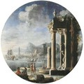 A capriccio of architectural ruins with figures by a fountain - Gennaro Greco