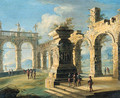 An architectural capriccio with classical ruins and figures 2 - Gennaro Greco
