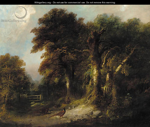 Pheasants and rabbits on a wooded track - George Armfield