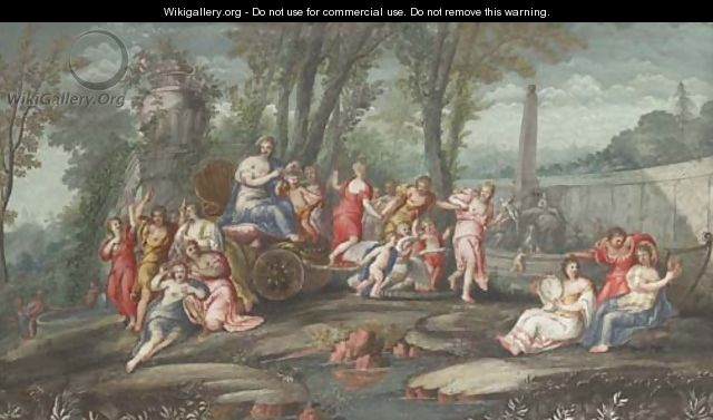 Venus and Cupid in a chariot attended by nymphs and muses - French School