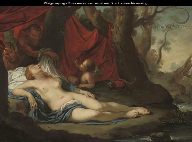 A wooded river landscape with two satyrs discovering the sleeping Diana with Cupid - French School
