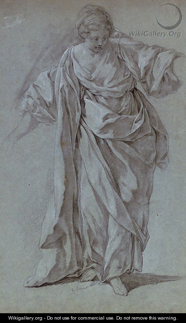 A woman in classical costume looking down to the right - French School