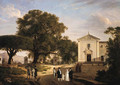 A view of the town square of Albano with monks walking before a Franciscan church - French School
