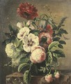 Roses and other flowers in a vase on a pedestal - French School