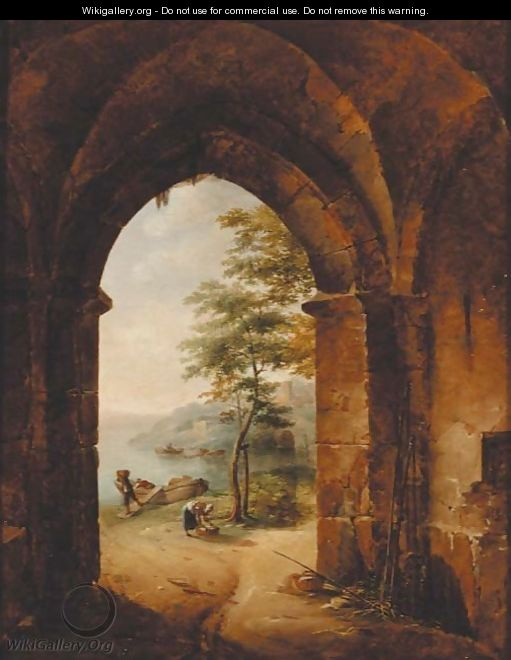 A Gothic archway with peasants unloading a boat in a river landscape - French School