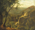Monks standing on a wooded outcrop overlooking a rivervalley, a waterfall nearby - French School