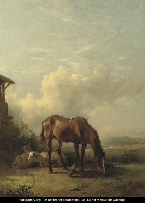 Sheep and a horse on a sunny afternoon - Friedrich Gauermann