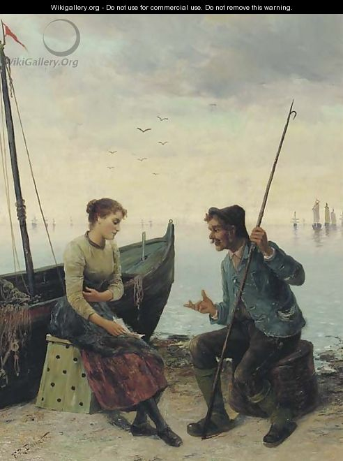 Conversing on a quay - Frederick Reginald Donat