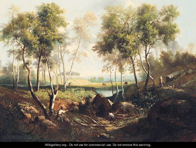 Woodcutters in a Landscape - French School
