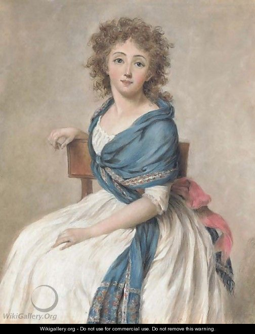 Portrait of a seated woman wearing a blue shawl - French School