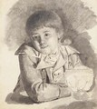 A seated boy holding a candle wrapped in paper - French School