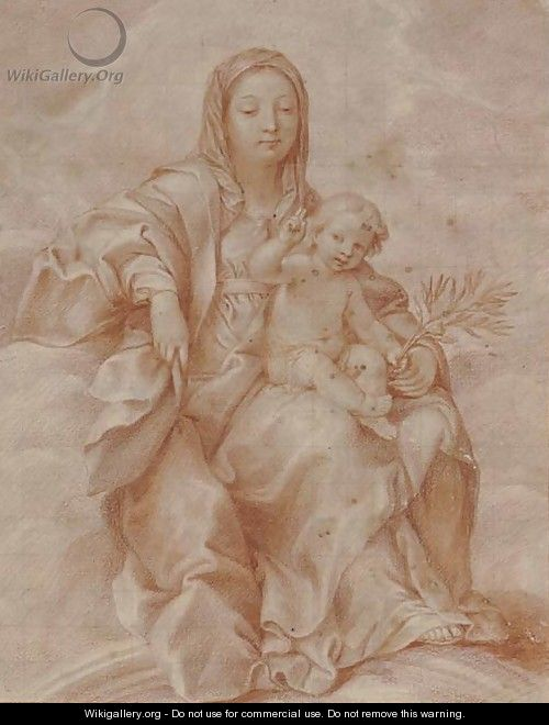 The Madonna and Child holding an olive branch - French School