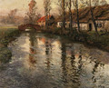 Cottages along a river, Normandy - Fritz Thaulow